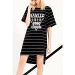 Letter Print Striped Asymmetric Dress