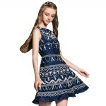 Round Collar Embroidered Tank Dress for sale