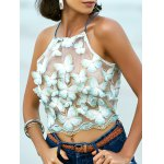 Stylish Embroidered Cross Back Crop Top For Women