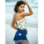 Stylish Embroidered Cross Back Crop Top For Women photo