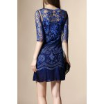 cheap Embroidery See Through Pleated Dress