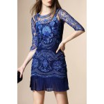 Embroidery See Through Pleated Dress deal