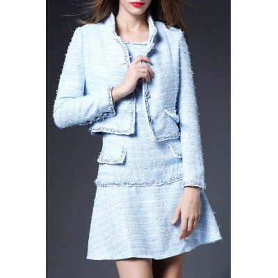 Solid Color Button Embellished Twinset Dress