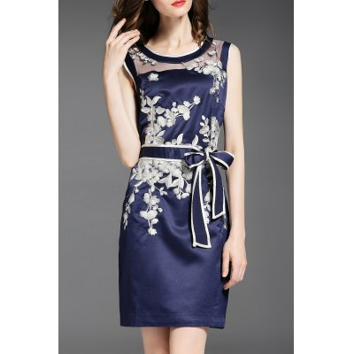 Voile Spliced Floral Embroidery Bowknot Dress