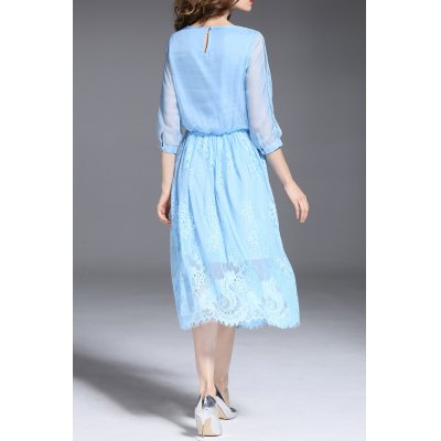 Drawstring Solid Color Lace Spliced DressDesigner Dresses<br>Drawstring Solid Color Lace Spliced Dress<br><br>Style: A Line<br>Occasion: Cocktail &amp; Party<br>Material: Polyester<br>Composition: Outer Composition:100% Polyester&lt;br&gt;Lining Composition:100% Polyester<br>Dresses Length: Mid-Calf<br>Neckline: Round Collar<br>Sleeve Length: 3/4 Length Sleeves<br>Pattern Type: Solid<br>With Belt: No<br>Season: Fall,Spring,Summer<br>Weight: 0.370kg<br>Package Contents: 1 x Dress