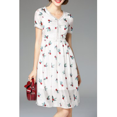 Embroidery Hem Hollow Out Dress