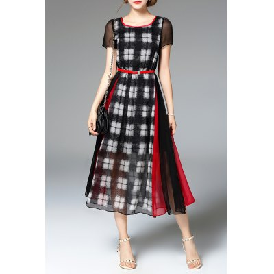 Plaid Print Patched Dress