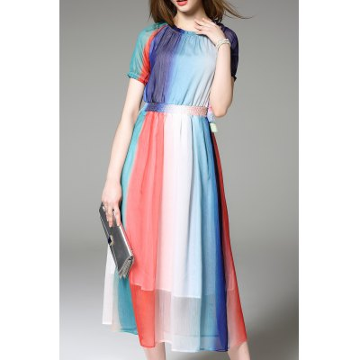 Colorful Layered Tassel Dress