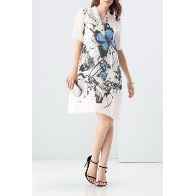 Loose Butterfly Print Dress and Cami Tank Top Suit