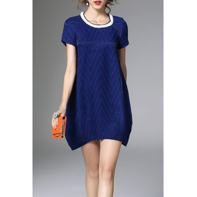 Loose Solid Color Beaded Dress