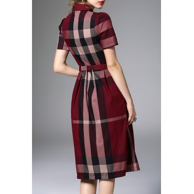 Waisted Corset Checked Dress