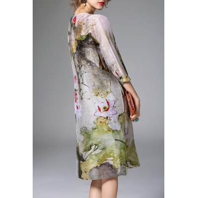 Loose Retro Printed Dress and Cami Tank Top SuitDesigner Dresses<br>Loose Retro Printed Dress and Cami Tank Top Suit<br><br>Style: Smock<br>Occasion: Casual<br>Material: Linen,Silk<br>Composition: 70%Linen,30%Silk<br>Dresses Length: Knee-Length<br>Neckline: Round Collar<br>Sleeve Length: 3/4 Length Sleeves<br>Pattern Type: Print<br>With Belt: No<br>Season: Summer<br>Weight: 0.470kg<br>Package Contents: 1 x Dress 1 x Tank Top