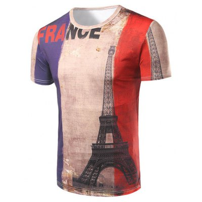 Casual Short Sleeve 3D Tower Printed T-Shirt For Men