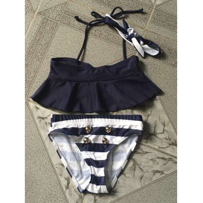 Flounced Halter Top + Striped Briefs Girl's Swimsuit