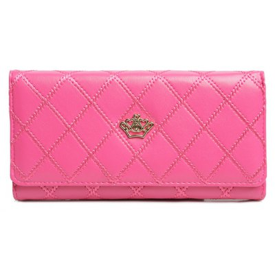 Fashionable Argyle Pattern and Crowm Design Wallet For Women