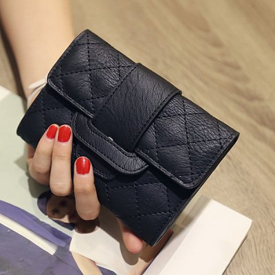 Trendy Checked and PU Leather Design Small Wallet For Women