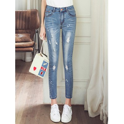 Ripped Pencil Jeans for Ladies