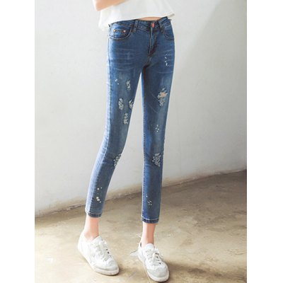 Stylish High Waist Skinny Ninth Ripped Jeans