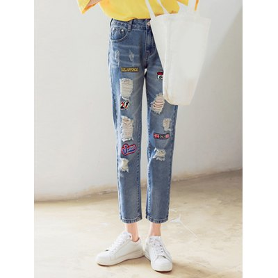 Stylish Patch Spliced Loose Fitting Ninth Ripped Jeans