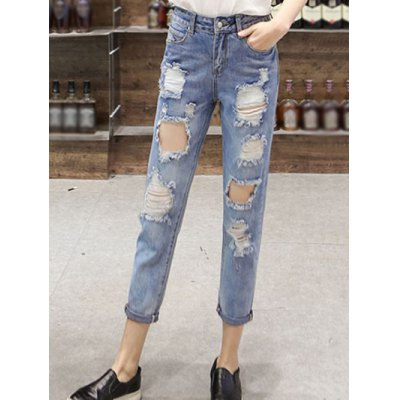 High Waist Ninth Ripped Jeans