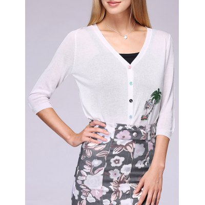 Women's Coconut Tree Pattern Colorful Buttons Thin Cardigan