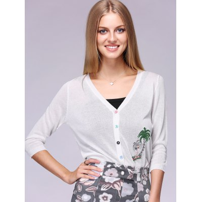 Coconut Tree Pattern Colorful Buttons Thin Cardigan