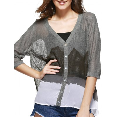 V-Neck Half Sleeves Ink Painting Print Cardigan