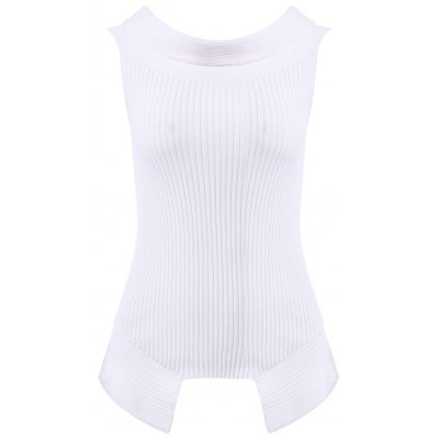 Solid Color Off the shoulder Asymmetric Knitwear For Women