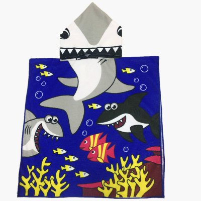 Cute Cartoon Shark and Coral Pattern Hooded Beach Towel For Kids