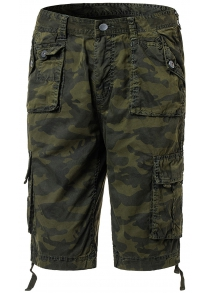 Cotton Camouflage Multi-Pockets Design Zipper Fly Straight Leg Shorts