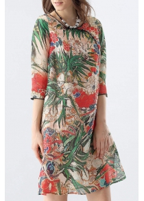 Side Slit Tropical Print Dress