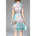 cheap Bowknot Floral Print Dress