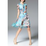 Bowknot Floral Print Dress for sale