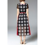 cheap High Waisted Plaid Print Dress