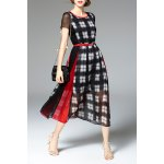 High Waisted Plaid Print Dress for sale