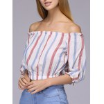 Attractive Off-The-Shoulder Colored Striped Crop Top For Women