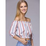 Attractive Off-The-Shoulder Colored Striped Crop Top For Women deal