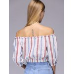 Attractive Off-The-Shoulder Colored Striped Crop Top For Women for sale