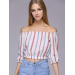 cheap Attractive Off-The-Shoulder Colored Striped Crop Top For Women