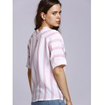 Stylish Half Sleeve Double-V Striped Women's T-Shirt for sale