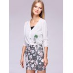 Coconut Tree Pattern Colorful Buttons Thin Cardigan for sale