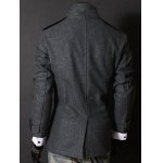 cheap Fashion Stand Collar Double Breasted Long Sleeves Woolen Windbreaker For Men