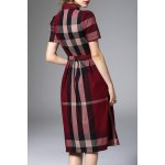 cheap Waisted Corset Checked Dress