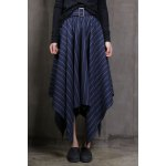Striped Irregular Hem Long Skirt deal