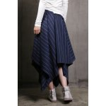 cheap Striped Irregular Hem Long Skirt