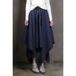 Striped Irregular Hem Long Skirt
