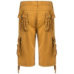 cheap Cotton Solid Color Embroidered Multi-Pockets Zipper Fly Straight Leg Shorts