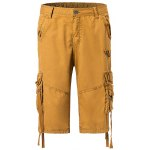Cotton Solid Color Embroidered Multi-Pockets Zipper Fly Straight Leg Shorts