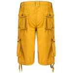 cheap Cotton Solid Color Multi-Pockets Zipper Fly Straight Leg Shorts