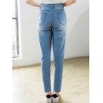 High Waist Loose Fitting Ninth Ripped Jeans for sale